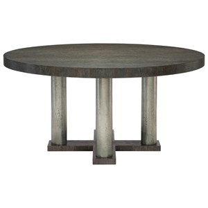 Transitional Round Dining Table with Metal Posts