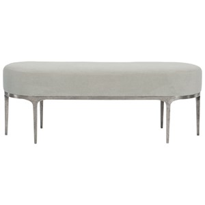 Transitional Upholstered Bench with Metal Legs