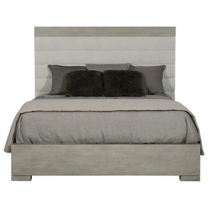 Transitional King Upholstered Bed with Channeling