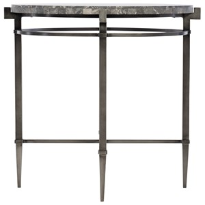 Contemporary Round End Table with Stone Top