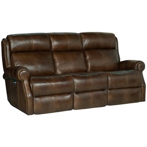 Leather Power Reclining Sofa with Power Tilt Headrests and USB Charging Ports