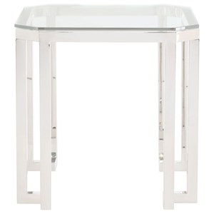 Square End Table with Stainless Steel Base