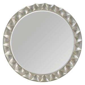 Round Mirror with Silver Sand Finished and Beveled Frame