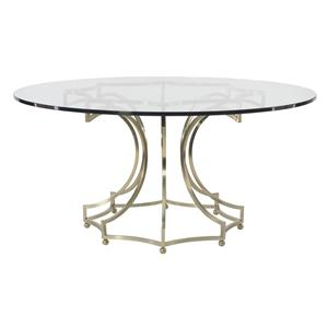 Round Dining Table with Clear Glass Table Top