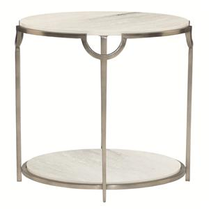 Oval End Table with Faux Marble Top