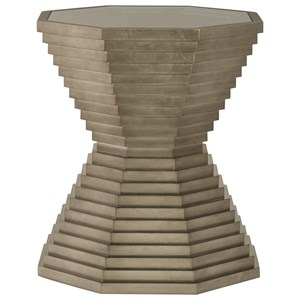 Octagonal Glass Top End Table with Stacked Frame Design