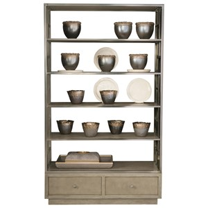 Five Shelf Etagere with Storage Drawers