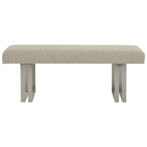 Customizable Upholstered Bench with Stainless Steel Pedestals