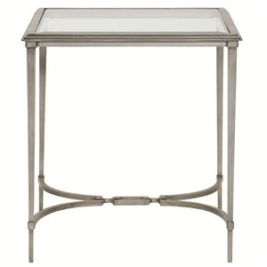 Square End Table with Tempered Glass Top