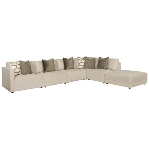 Contemporary Six Piece Sectional with Bumper Ottoman