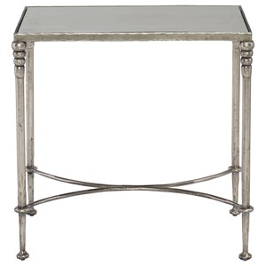 Rectangular End Table with Antiqued Mirror Top