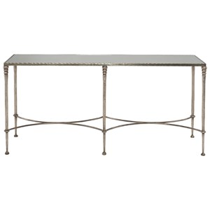 Rectangular Console Table with Antiqued Mirror Top