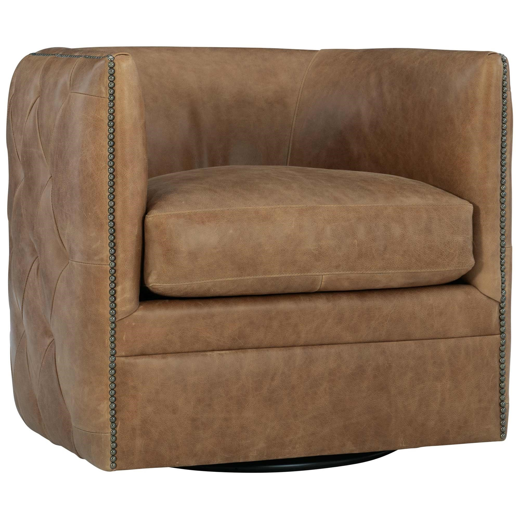 Palazzo Leather Swivel Barrel Chair at Williams & Kay