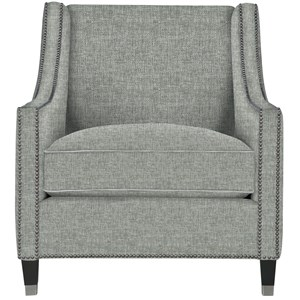 Transitional Nailhead Chair with Metal Ferrules