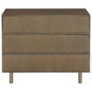 Three Drawer Nightstand with Stainless Steel Mesh Drawer Fronts