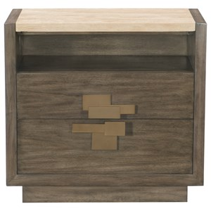 Two Drawer Nightstand with Stone Top