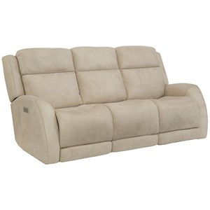 Casual Power Reclining Sofa with Power Headrest / Lumbar and USB Charging Ports
