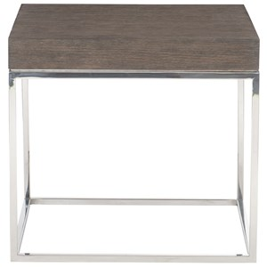 Contemporary End Table with Metal Base