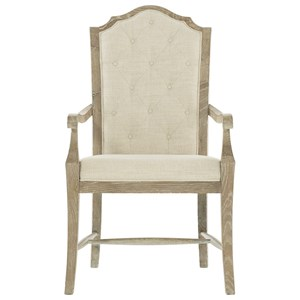 Rustic Arm Chair with Button Tufting