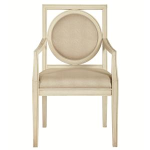 Dining Arm Chair with Circular Wood-Framed Back