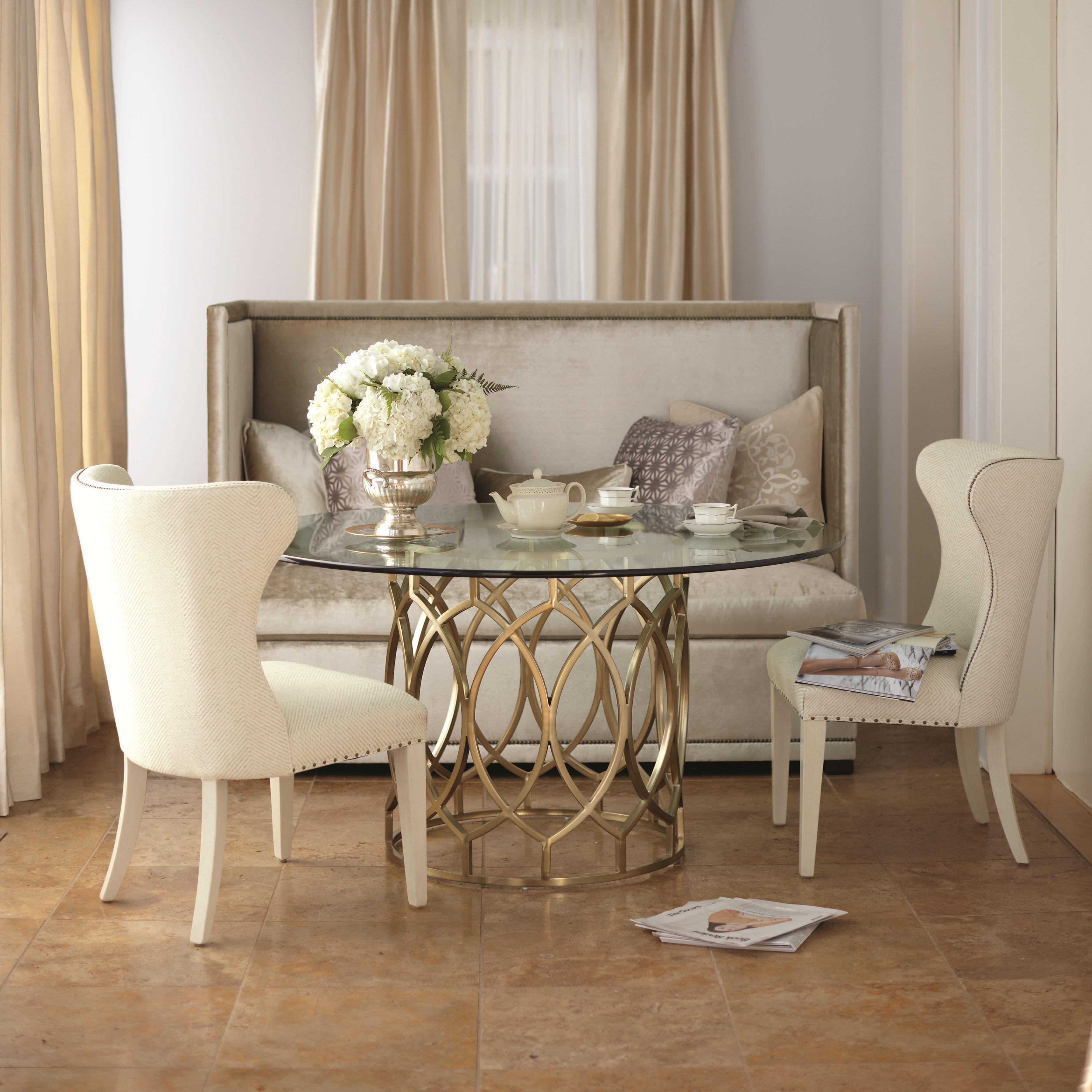 bernhardt salon 3 piece dining set with round glass top