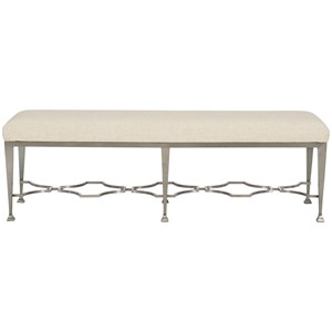 Transitional Metal Bench with Upholstered Seat