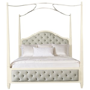King Upholstered Poster Bed with Optional Metal Canopy