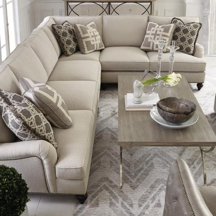 Signature Seating Custom 5 Seat Sectional with Flared Arms at Williams & Kay