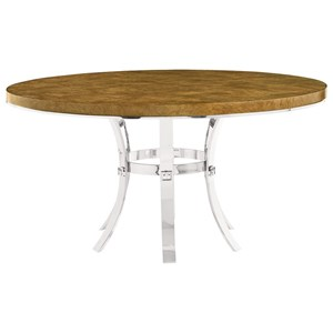 Contemporary Round Dining Table with Metal Base