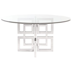 Contemporary Dining Table with Glass Table Top