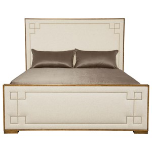 Transitional Queen Upholstered Bed with Greek Key Design