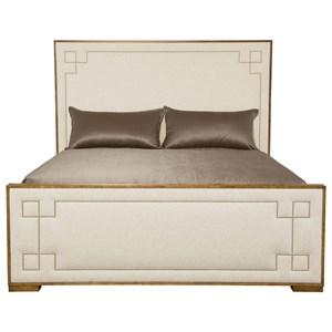 King Upholstered Bed with Greek Key Design