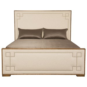 Transitional Customizable Upholstered King Bed with Greek Key Design