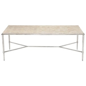 Rectangular Cocktail Table with Herringbone Stone Top