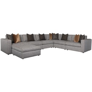 Contemporary Five Seat Sectional Sofa with Ottoman