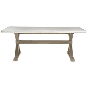 Rectangular Dining Table with Stainless Steel Top