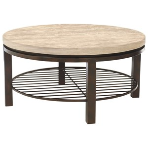 Round Travertine Stone Top Cocktail Table
