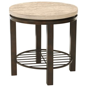 Round End Table with Travertine Stone Top
