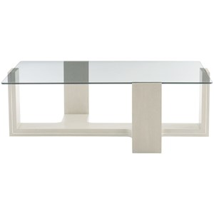 Contemporary Cocktail Table with Glass Table Top