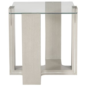 Contemporary End Table with Glass Table Top
