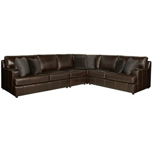 Leather Sectional with Spring Down Cushions