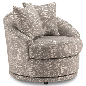 Contemporary Barrel Back Swivel Chair with 2 Toss Pillows