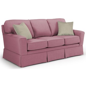 Customizable Transitional Sofa with Beveled Arms and Skirted Base