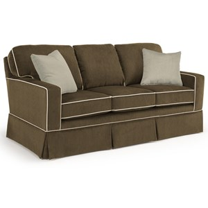 <b>Customizable</b> Transitional Sofa with Rolled Arms and Skirted Base