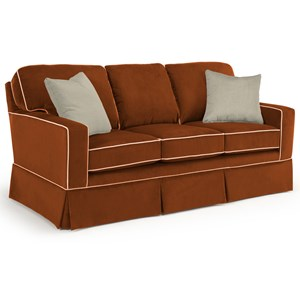 Customizable Transitional Sofa with Rolled Arms and Skirted Base