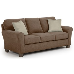 <b>Customizable</b> Transitional Sofa with Rolled arms and Tapered Block Legs