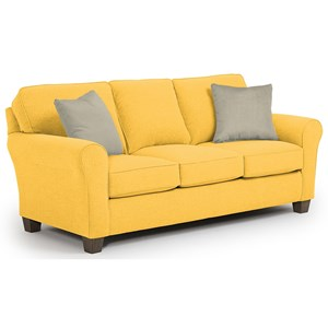 Customizable Transitional Sofa with Rolled arms and Tapered Block Legs