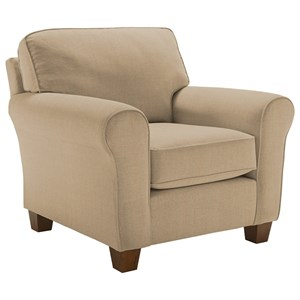 <b>Customizable</b> Transitional Chair with Rolled Arms and Tapered Leg