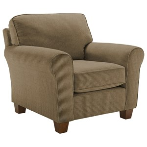 Customizable Transitional Chair with Rolled Arms and Tapered Leg