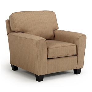 <b>Customizable</b> Transitional Chair with Beveled Arms and Tapered Legs